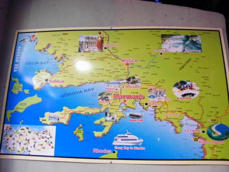 Mapa de Marmaris e Içmeler en el sudoeste de Turquía / J.M