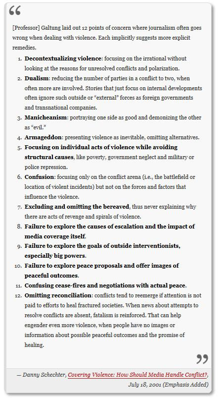 periodismo de guerra según Johan Galtung