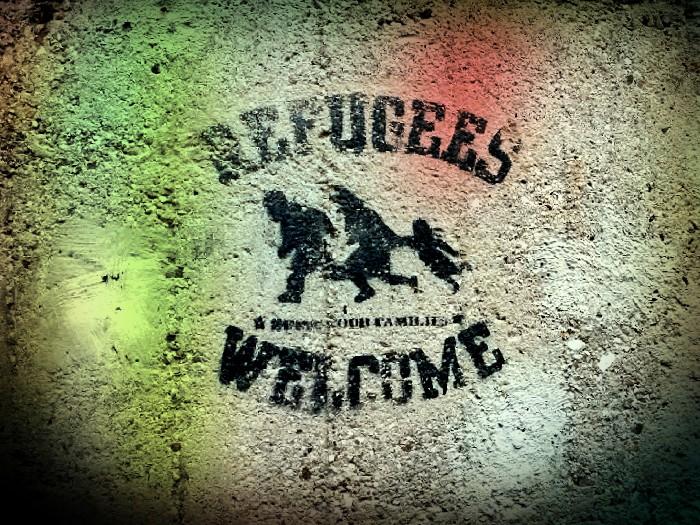 pintada en favor de los refugiados